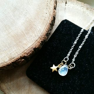 Small stars, vitreous moonstone silver clavicle necklace