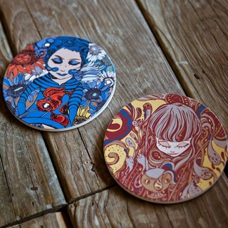 Coffee Girl - Solo Exhibition Ceramic Absorbent Coaster