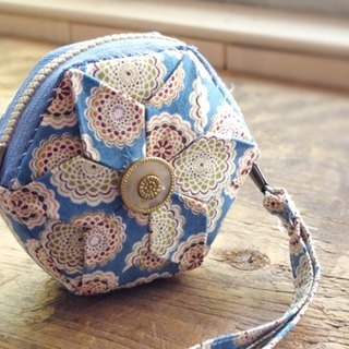 Exclusive Order - [] pure hand-made cloth folded flower craft hexagonal small wallet / purse