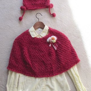 Cranberry Raspberry Tower - Hand-crocheted cape + caps (Get Hand-made brooch)