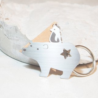 Mr. and Miss Penguin Polar Bear key ring / stainless steel / about to complete the sale / no longer produced