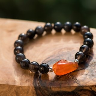 【Woody'sHandmade】改變。紅玉髓原石、冰種黑曜石手串。Change - Carnelian stone in natural shape with Icy Black obsidian