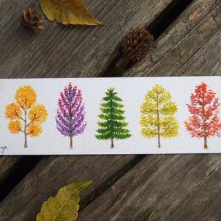 Autumn mini trees - watercolor hand-painted bookmark card (original)