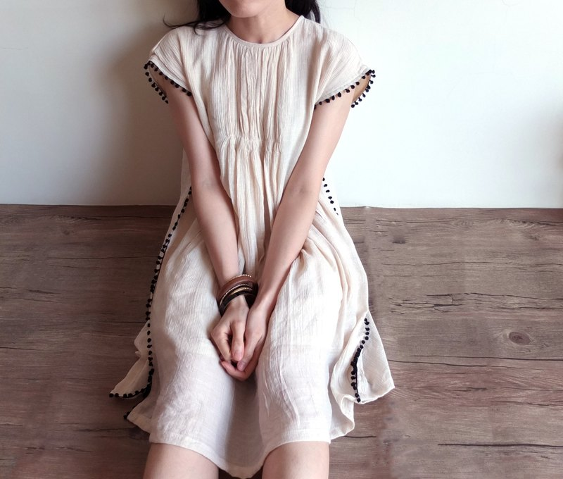 Knitted cotton ball piping beige wrinkled cotton and linen babydoll dress Etsy e-news recommended