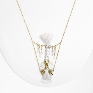 Scissors Girl necklace with embroidered details / White