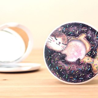 Good round double sided mirror - cat donut