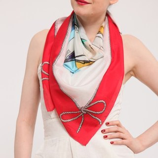 Red Printed Silk Sailboat Scarf