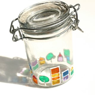 Rainbow Village│Colorful Cottage Houses Decorative Stained Glass Bottle