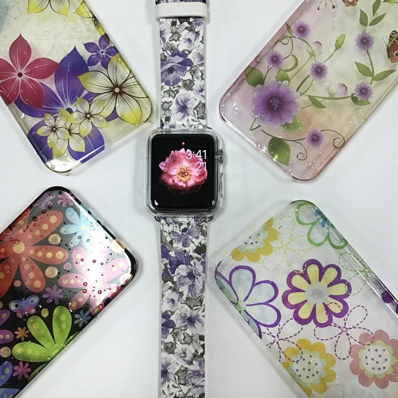Apple Watch Series 1 , Series 2, Series 3 - Purple Floral pattern Watch Strap Band for Apple Watch / Apple Watch Sport - 38 mm / 42 mm avilable