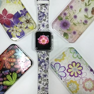 Apple Watch Series 1 , Series 2, Series 3 - Apple Watch 真皮手錶帶,適用於Apple Watch 及 Apple Watch Sport - Freshion 香港原創設計師品牌 - 紫色碎花花紋 cr10