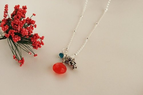 Hand-made gift ♥ ♥ OldNew Lady- [little angel, firefly orange jade Sui] 925 sterling silver necklace * 9 * Limited (free transport)