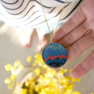 Prairie Green World / blue violet waves / sun catastrophe necklace round