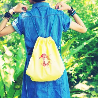 Two-sided Goldfish Drawstring Bag |Fluorescent Yellow