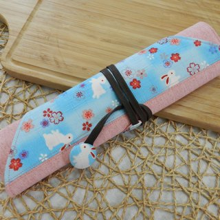 Light blue cherry rabbit Japanese imported cotton ~ environmental chopsticks set / cutlery bag (4 format)