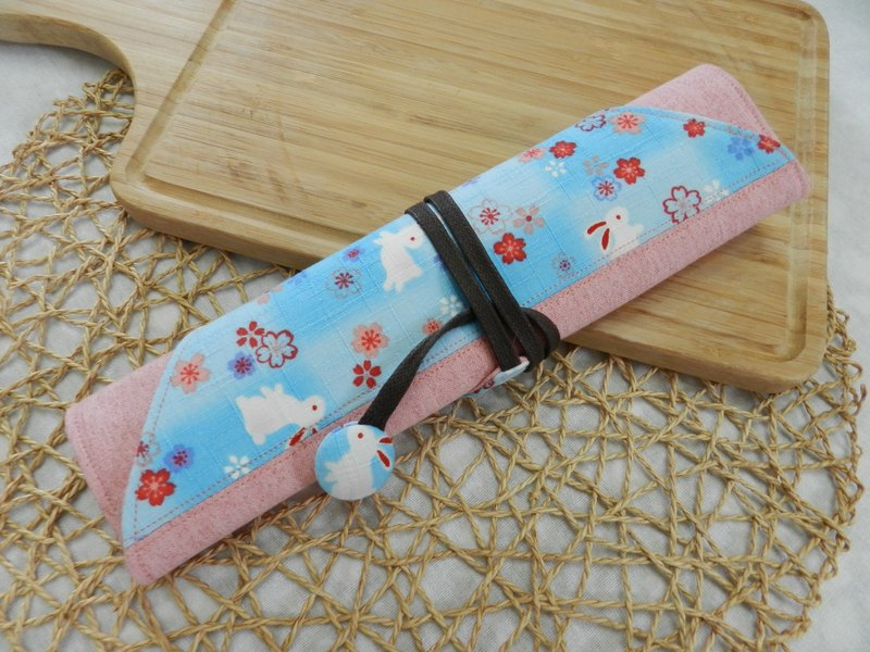 Light blue cherry rabbit ~ environmental protection chopsticks set / cutlery bag / tableware storage bag (4 format)