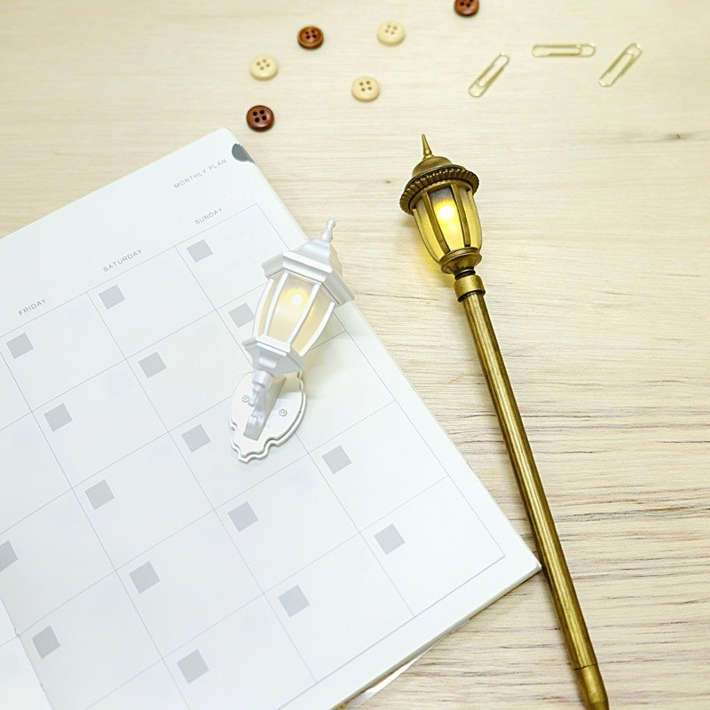 Sweet partner group - warm wall light hook (pearl white) + classical street light pen (classical gold)