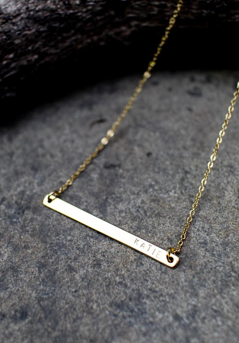 47d26ce33 Long Skinny Bar Necklace / Gold Name Plate Necklace / Personalized Bar  Necklace / Monogram Gold Name Bar Layered Necklace - Shop fyntage -  Necklaces | ...