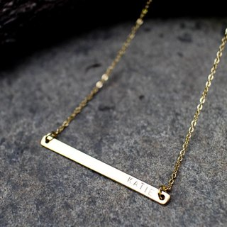 Long Skinny Bar Necklace / Gold Name Plate Necklace / Personalized Bar Necklace / Monogram Gold Name Bar Layered Necklace
