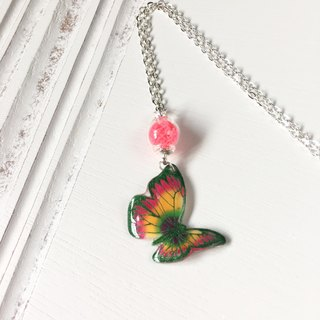 Luminous green pattern orange pink hand painted swallowtail butterfly bright glass necklace