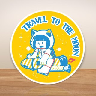 Pentagram ball / TRAVEL TO THE MOON- suitcase stickers