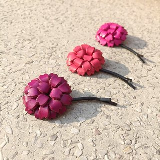· Leather round flower hair accessories hairpin word