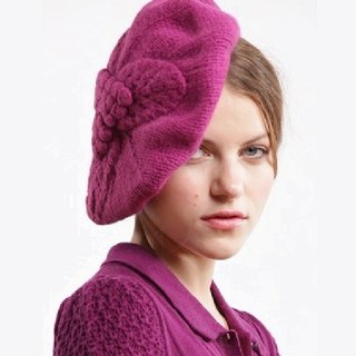 Purple Virgin Wool Leaf Beret