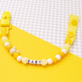 "Cheerful. ""Custom Name"" baby pacifier chain / pacifier clip / toy chain / anti-chain / can be changed to 'vanilla pacifier' use of yellow"