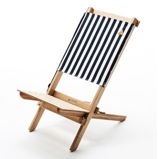 A.NATIVE outdoor camping picnic to chair high-backed wooden folding / striped blue