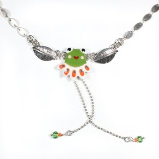 Small frog necklace] [Taratata Paris, France cold enamel handmade European style handmade necklace small frog
