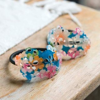 Stenciling cherry, oval hollow tress, hair band - Blue