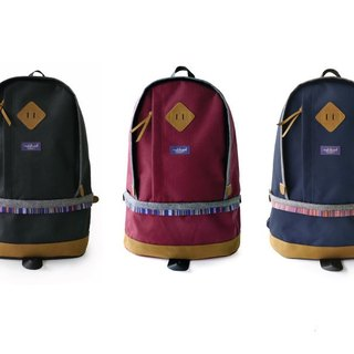 Wooden match after Matchwood Bilayer design national wind backpack 17 inch laptop mezzanine black / purplish red / navy