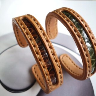 Concentric bracelet - simple copper core bracelet _s tropical rainforest Brown & Green (one pair) - Limited Paper money
