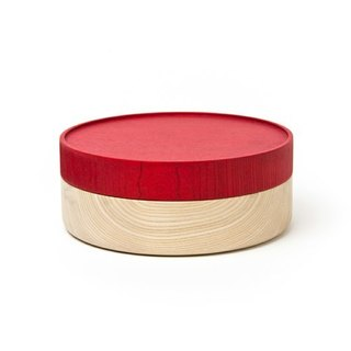 Hata lacquerware shop wooden vessel HAKO L (red)