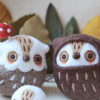 Magic Forest - owls and mushrooms (two) wool felt ornaments