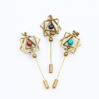 Square Planet Lapel Pin