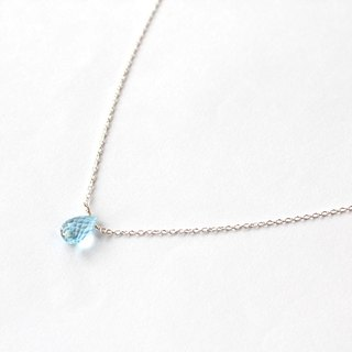 Journal sky blue topaz / rainbow semi-precious stones naked muscle Silver necklace clavicle