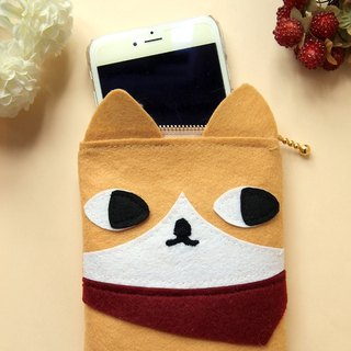 Meow hand-made red scarf orange cat phone bag / storage bag / cosmetic bag / pouch / Pencil / debris bag