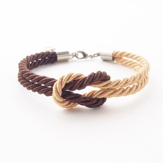 Dark brown / light gold knot bracelet