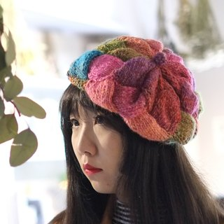 Araignee Design*Hand-made wool cap - braided Beret*- Yelulu II / stitching color / Japanese miscellaneous goods wind national wind