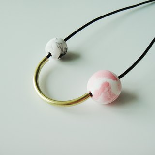 Marble Arc Necklace- pink and black
