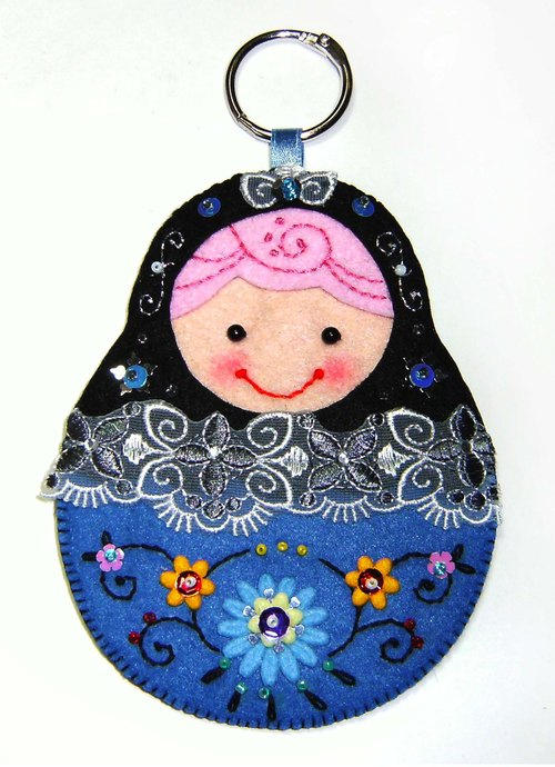 Russian doll card set - black and blue
