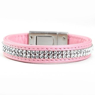 [Leather rope] S Swarovski double row leather leather collar ((send lettering))