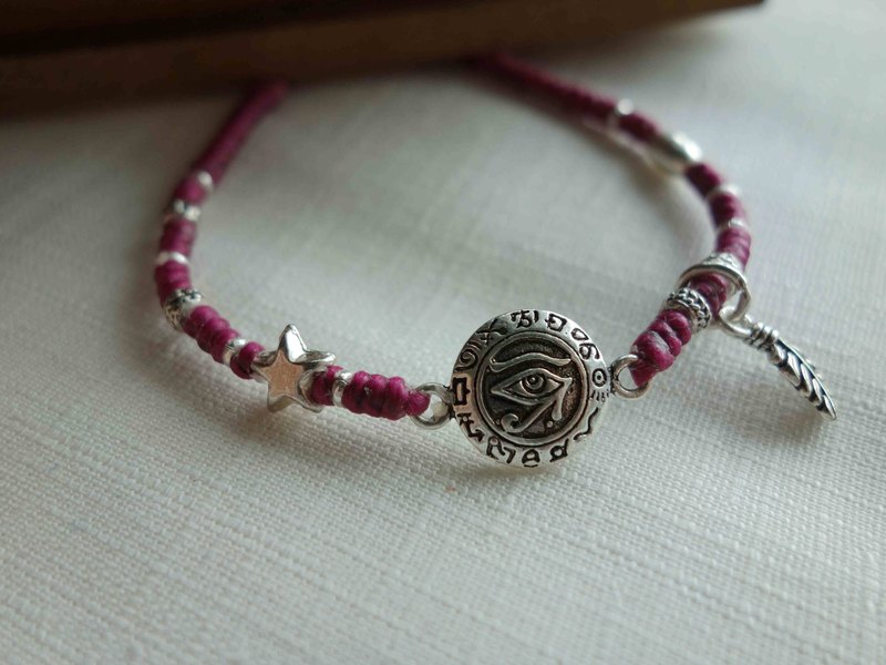 ~M+Bear~Distinguish the Eye of Good and Evil Horus Eye of Egypt 925 Sterling Silver Silk Wax Weaving Bracelet Fine Bracelet