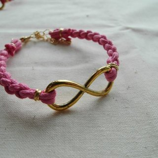 ~ M + Bear ~ Love Unlimited Love Unlimited, 8 wax rope braided bracelet (pink gold)