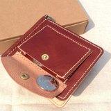 皮革證件鈔票夾//焦糖色 Leather money clip wallet