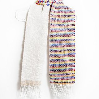 Hand-woven wool scarf feel - gradient rainbow colors