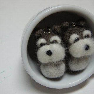 [羊乐多X wool felt] mini schnauzer mobile phone strap earphone plug
