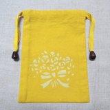 【姆姆草木染】薑黃植物染黃色束口袋(捧花款)