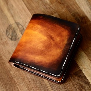 Hand-tailored Italian vegetable-tanned leather dyed sunset color Japanese-style two-fold leather wallets wallet fiscal cloth