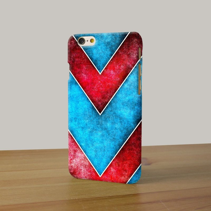 Red Blue Chevron 98 3D Full Wrap Phone Case, available for  iPhone 7, iPhone 7 Plus, iPhone 6s, iPhone 6s Plus, iPhone 5/5s, iPhone 5c, iPhone 4/4s, Samsung Galaxy S7, S7 Edge, S6 Edge Plus, S6, S6 Edge, S5 S4 S3  Samsung Galaxy Note 5, Note 4, Note 3,  No